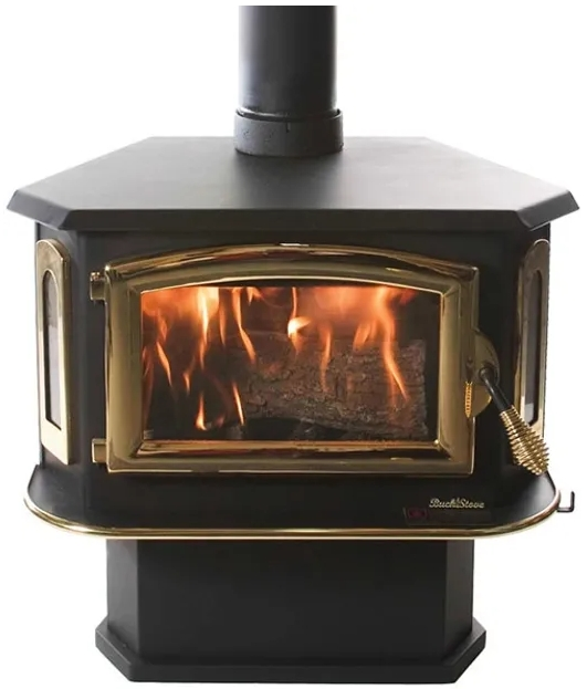 Buck Stove Model 18 fireplace insert with brass finish.