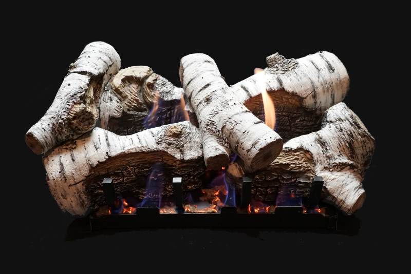 White Mountain Hearth Birch Burncrete gas logs.